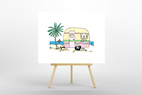 Pink Retro Caravan ORIGINAL PAINTING