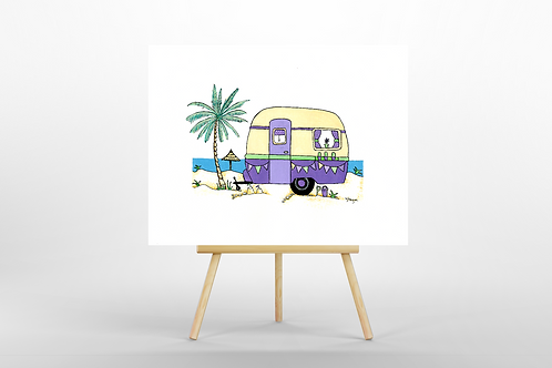 Purple Retro Caravan ORIGINAL PAINTING