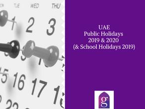 UAE Public Holidays 2019 & 2020 (& School Holidays 2019)