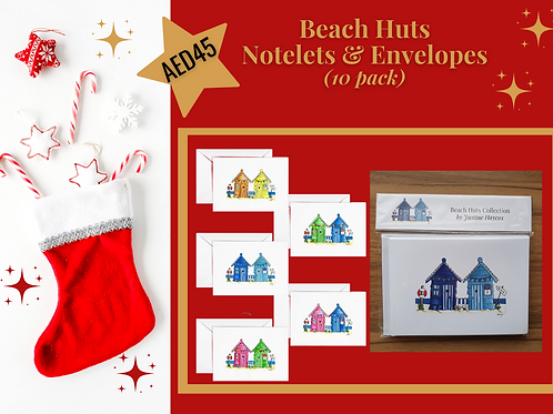 NOTELETS with envelopes (10 Pack) Stocking Filler Beach Huts