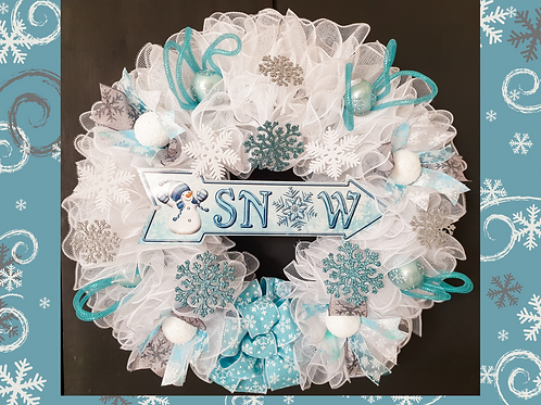 SNOW Christmas wreath winter wreath white ice blue snowflakes snowballs Gateway Art Sales Abu Dhabi Dubai UAE handmade