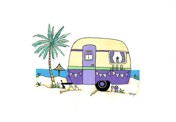 Retro Caravan in Purple