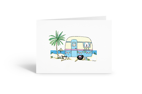 blue caravan greeting card birthday card thank you card notecard Gateway Art Sales Abu Dhabi Dubai UAE