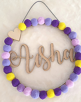 Custom name hoop wreath hanging wall decor door hanging personalise name word words colours made to order for sale in our secure online shop in Abu Dhabi Al Ain Dubai UAE Gateway Art Sales LLC