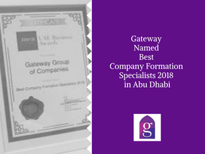 Gateway Named Best Company Formation Specialists 2018 in Abu Dhabi
