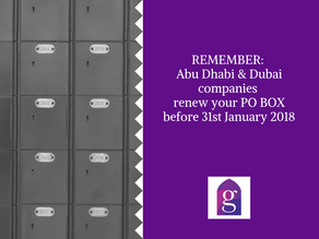 REMEMBER: Abu Dhabi companies renew your PO BOX before 31st January 2018