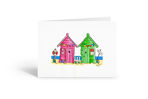 Pink & Green Beach Huts greeting card birthday card thank you card Gateway Art Sales Abu Dhabi Dubai UAE