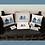 blue beach huts cushion cover 40x40 piping 100% cotton pillow picture cards Gateway Art Sales Abu Dhabi Dubai UAE