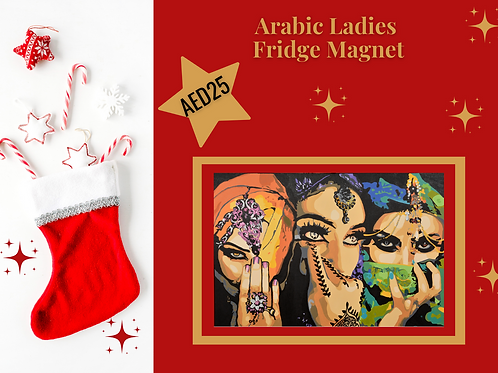 Arabic Ladies fridge magnet stocking filler Arabic art Arabia abstract Gateway Art Sales Abu Dhabi Dubai UAE Christmas 2020