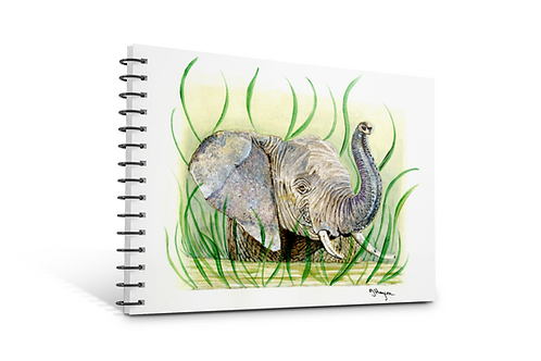 Elephant notebook A5 size spiral bound 50 blank inner pages paper gift Gateway Art Sales Abu Dhabi Dubai UAE
