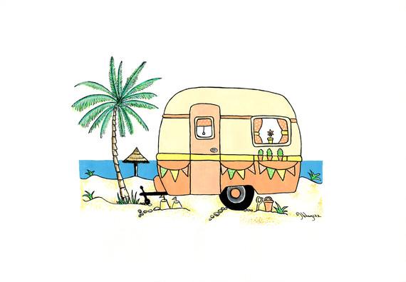 Retro Caravan in Orange