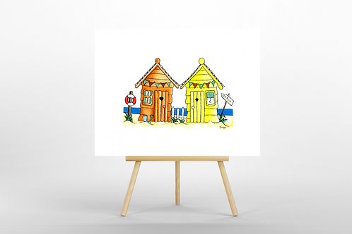 Orange & Yellow Beach Huts ORIGINAL PAINTING