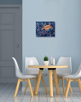 The Turtle original painting artwork acrylics canvas dot art dotting pointillism for sale online in Abu Dhabi Al Ain Dubai UAE Gateway Art Sales LLC