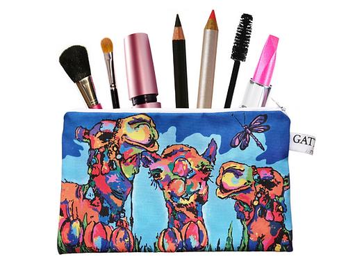 Camels cosmetics bag pouch makeup bag zipper gift Arabic art abstract Al Ain Abu Dhabi Dubai Gateway Art Sales