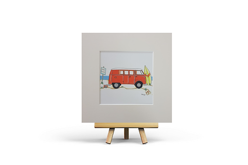 Orange Camper Van MOUNTED PRINT (Square)