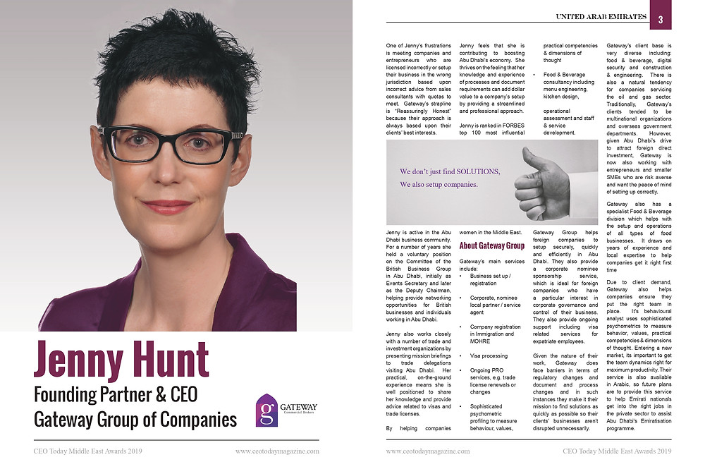 Jenny Hunt Founding Partner & CEO of Gateway Group Of Companies Awards Winner 2019 CEO Today Magazine Interview