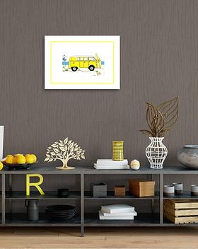 yellow camper van original painting artwork double mount for sale online in Abu Dhabi Al Ain Dubai UAE Gateway Art Sales LLC