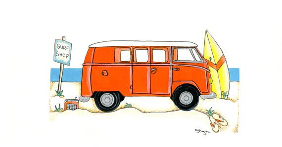 Camper Van in Orange