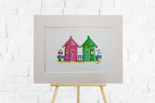 Pink & Green Beach Huts giclee art print mounted insitu easel brick wall picture art Gateway Art Sales Abu Dhabi Dubai UAE