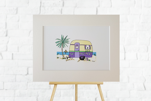 Purple Retro Caravan giclee print mounted artwork picture insitu easel Gateway Art Sales Abu Dhabi Dubai UAE
