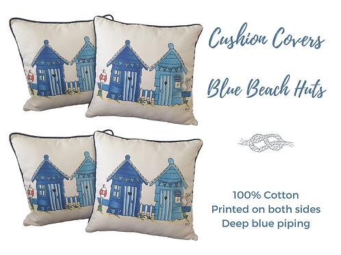 blue beach huts cushion cover 40x40 piping 100% cotton pillow covers Gateway Art Sales Abu Dhabi Dubai UAE