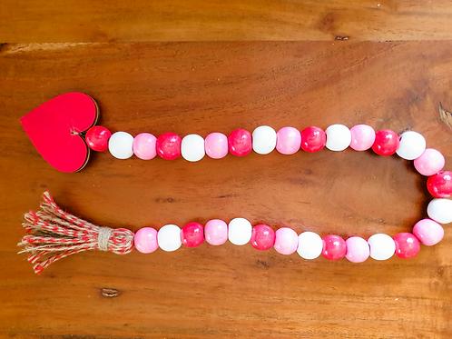 Valentines Beaded Garland wooden beads boho design jute tassel Abu Dhabi Dubai Al Ain Gateway Art Sales rae dunn tiered tray