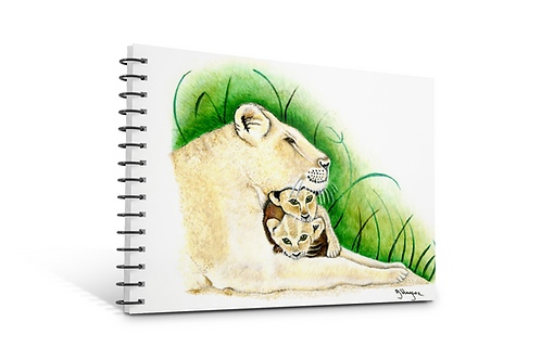 Lioness notebook A5 size spiral bound 50 blank inner pages paper gifts Lioness theme Gateway Art Sales Abu Dhabi Dubai UAE