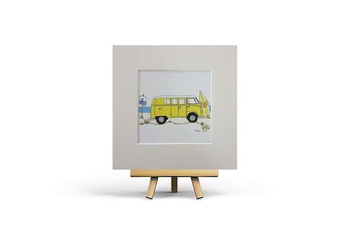 Yellow Camper Van MOUNTED PRINT (Square)