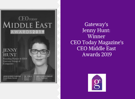 Gateway's Jenny Hunt: Winner CEO Today Magazine's CEO Middle East Awards 2019