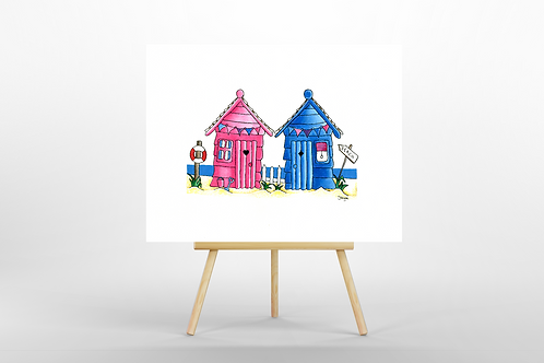 Pink & Blue Beach Huts ORIGINAL PAINTING