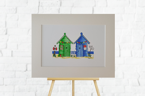 Green & Blue Beach huts giclee print mounted insitu easel brick wall art picture Gateway Art Sales Abu Dhabi Dubai UAE