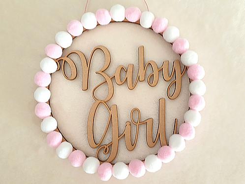 baby girl hoop wreath pink white pom poms lasercut wall hanging nursery decor Abu Dhabi Dubai Al Ain Gateway Art Sales LLC