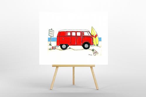 Red Camper Van ORIGINAL PAINTING