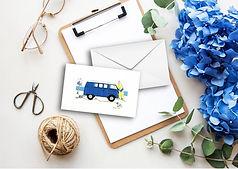 Blue camper van greeting cards envelopes