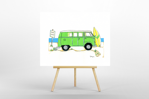 Green Camper Van ORIGINAL Painting