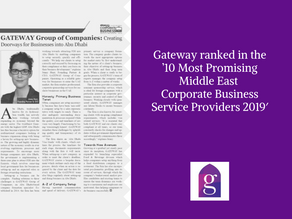 Gateway ranked in the '10 Most Promising Middle East Corporate Business Service Providers 2019'