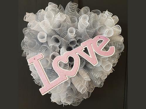 Love heart shaped wreath Valentines Day silver gift decor decoration Gateway Art Sales Abu Dhabi Al Ain Dubai handmade