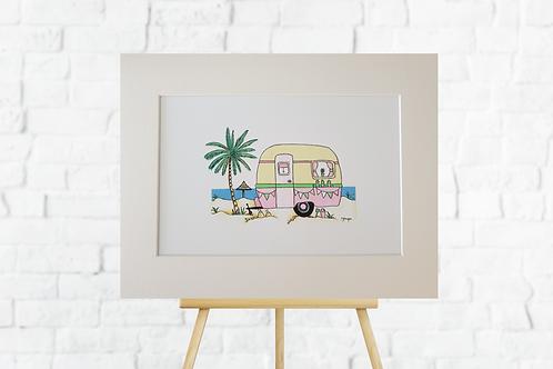 Pink Retro Caravan giclee print mounted artwork picture insitu easel Gateway Art Sales Abu Dhabi Dubai UAE