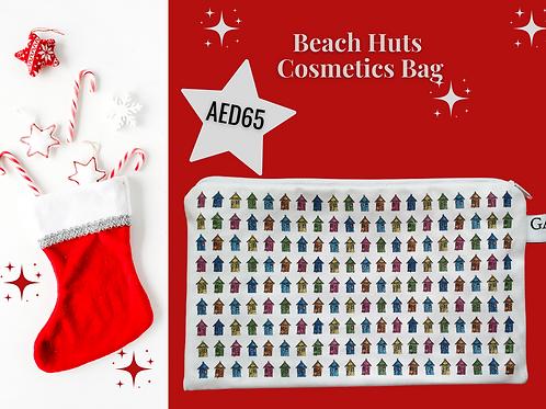 Beach huts Beach houses cosmetics bag make up bag stocking filler Christmas 2020 Gateway Art Sales Abu Dhabi Dubai UAE
