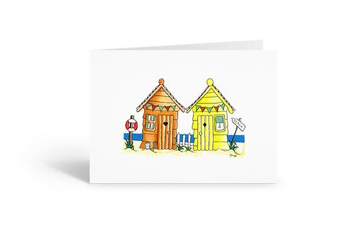 orange yellow beach huts greeting card birthday card thank you card Gateway Art Sales Abu Dhabi Dubai UAE