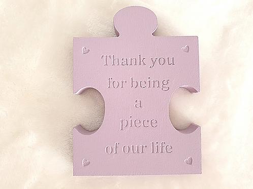 Thank you for being a piece of our life puzzle piece decor freestanding lavender Abu Dhabi Al Ain Dubai Gateway Art Sales LLC