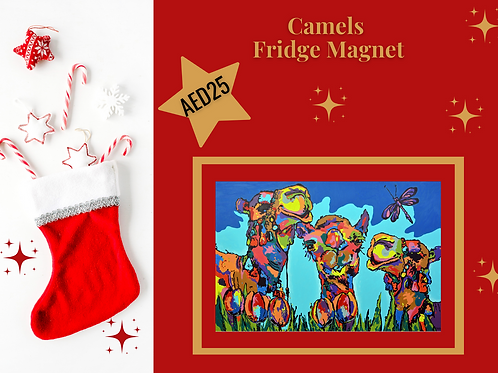 camels fridge magnet stocking filler arabia arabic art abstract Gateway Art Sales Abu Dhabi Dubai UAE Christmas 2020