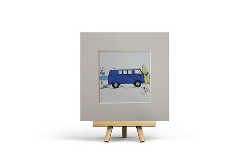 Blue Camper Van MOUNTED PRINT (Square)