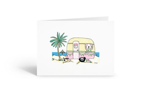pink caravan greeting card birthday card thank you card Gateway Art Sales Abu Dhabi Dubai UAE