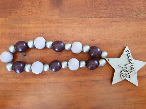 Eid Wood Bead Loop Garland (Purple, Lavender & Silver)