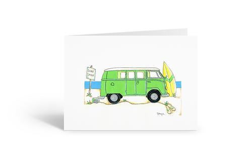 green camper van greeting card birthday card thank you card notecard Gateway Art Sales Abu Dhabi Dubai UAE