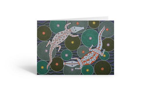 Crocodile Creek greeting card birthday Gateway Art Sales Abu Dhabi Dubai UAE pointillism dotillism