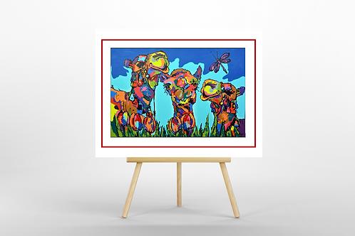 camels limited edition giclee print insitu easel artwork picture Gateway Art Sales Abu Dhabi Dubai UAE