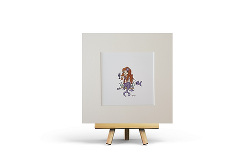 Lavender Mermaid MOUNTED PRINT