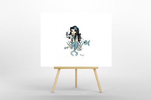 Turquoise Mermaid ORIGINAL PAINTING